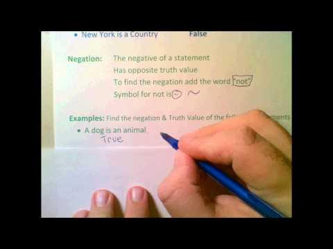Logic 1  Truth Value & Negation
