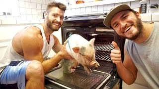 Download PUTTING OUR PIG INTO THE OVEN!! Mp3 and Videos
