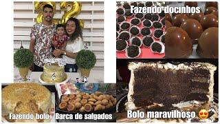 DIA/PREPARATIVOS DA FESTA| FAZENDO DOCINHOS, TRUFAS E BOLO| NIVER DE 22 ANOS DO MARIDO 💙