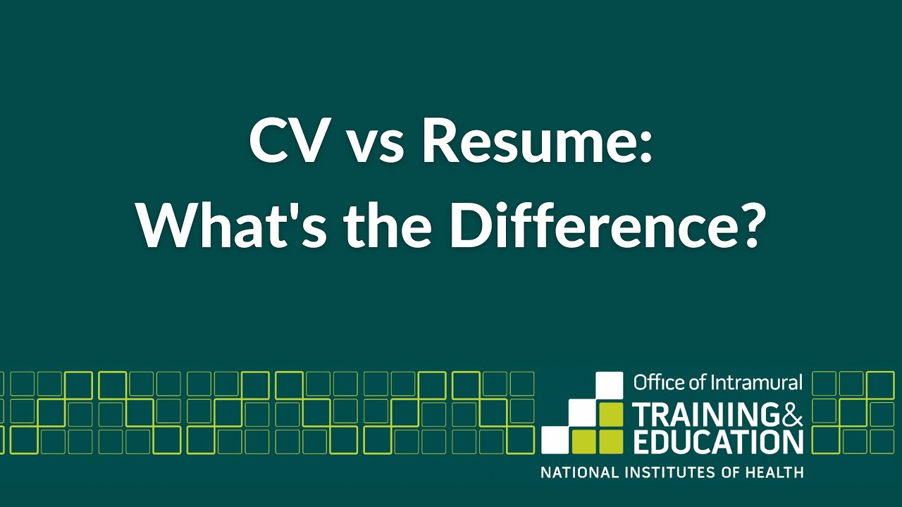 Is Cv The Same As Resume Cv Vs Resume What 39s The Difference Youtube