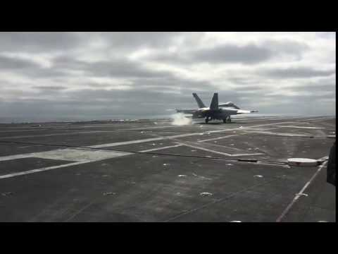 F-18 Arrested Landing - Slow Motion | Navy's Distinguished Visitor Program