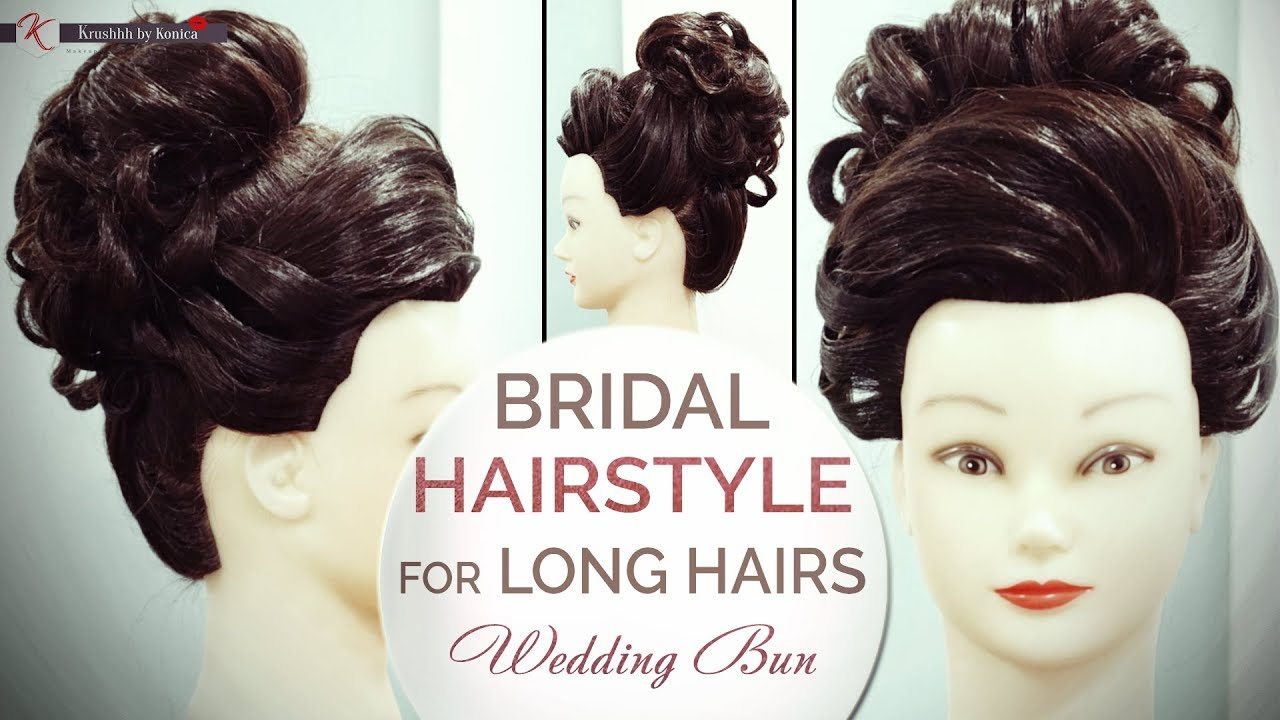 Bridal Hairstyle Wedding Bun Tutorial For Long Hair | Step By Step ...