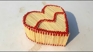 Matchstick heart gift box for valentine day | matchstick jewelry box making for valentine day gift.