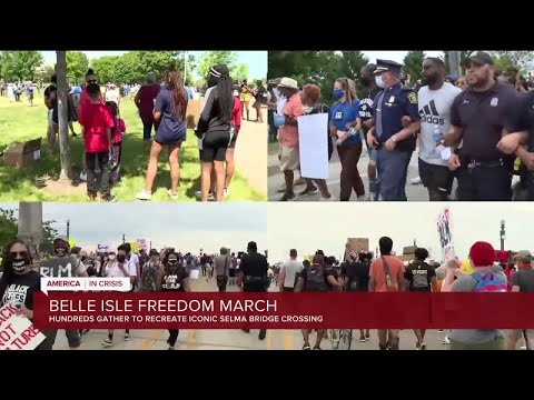 Hundreds participate in 'Freedom March' to Belle Isle