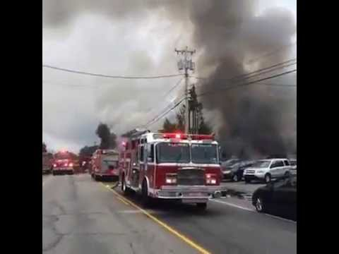 'Massive' fire destroys buildings and cars at Hanson Auto in Turner