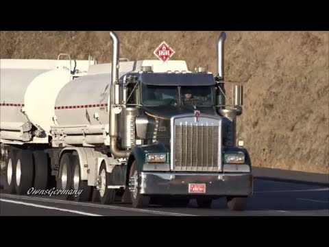 Kenworth W900 Double Tanker Pulling 6 Mile 6% Grade - Deadmans Pass