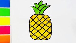 Как нарисовать ананас. Рисуем фрукты с детьми. Картинки для самых маленьких. Раскраска.