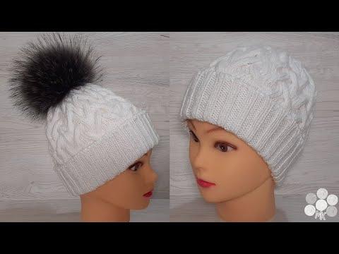Белая шапка с косами спицами