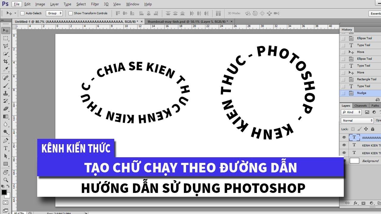 Photoshop | Tạo chữ chạy theo đường dẫn Hình tròn, Elip, Chữ nhật