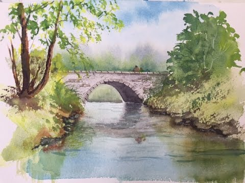 Как рисовать мост. Акварель. How to draw & paint the Bridge. Watercolour