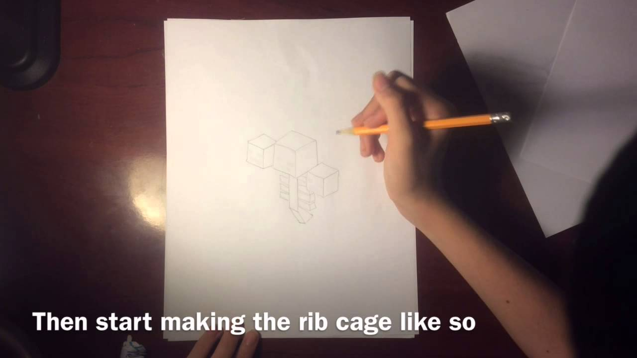 How To Draw A Wither From Minecraft Youtube
