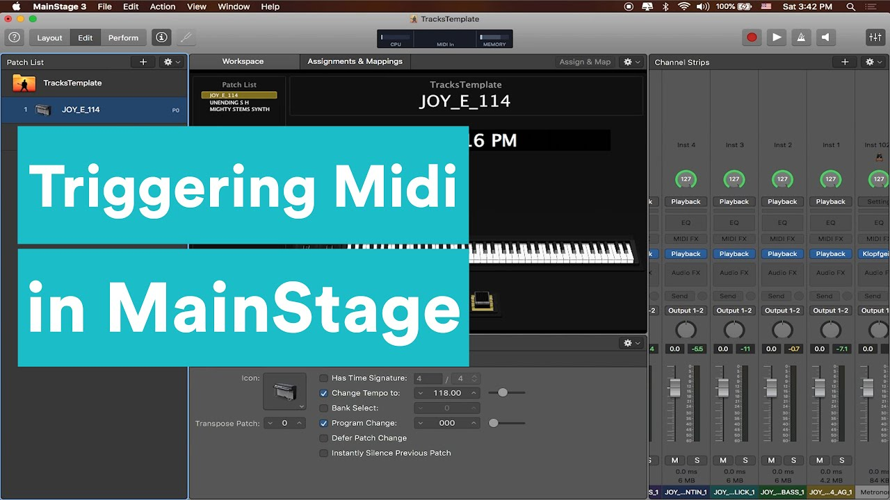 how to trigger midi in mainstage mainstage tutorial series youtube. Black Bedroom Furniture Sets. Home Design Ideas