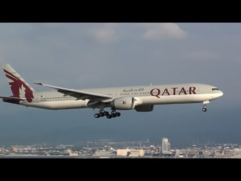 Qatar Airways Boeing 777-300ER A-BAG Landing at Kansai International Airport 24L