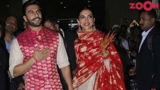 Ranveer Singh protects Deepika Padukone from the mob at the Airport post wedding | First Visuals