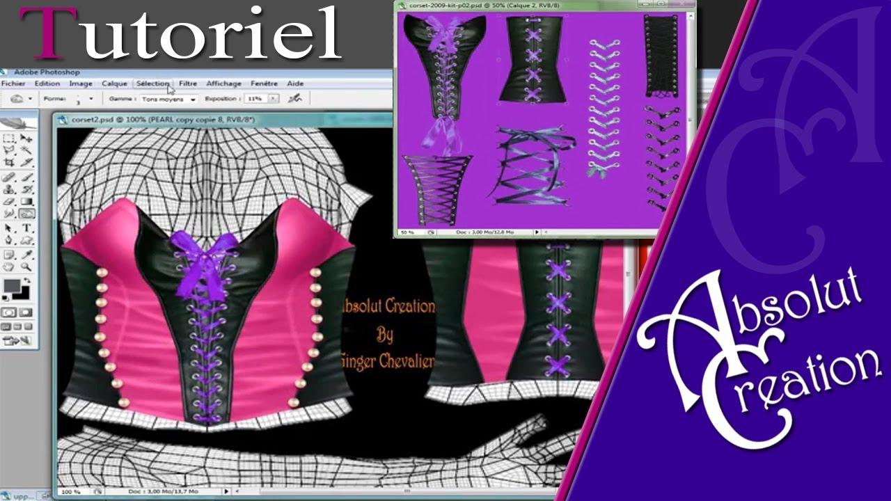 kit-corset photoshop SL Clothing second life - YouTube