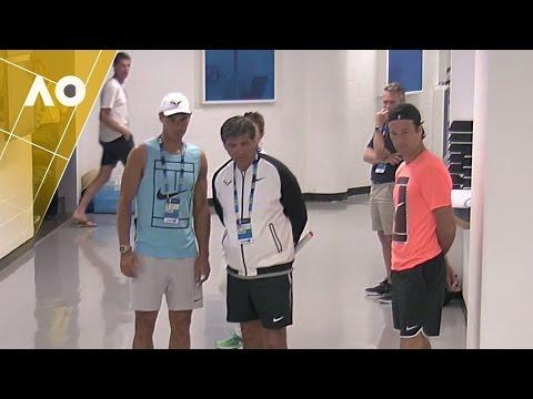 Rafa kills time in the hallway   Australian Open 2017
