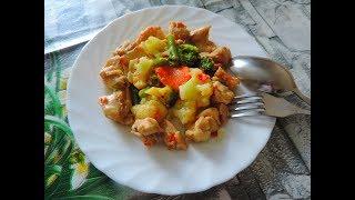 Как вкусно потушить курицу с овощами, с брокколи, с цветной капустой и стручковой фасолью