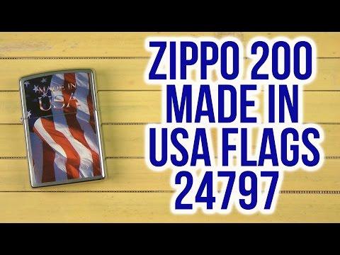 Распаковка Zippo 200 Made in USA Flags 24797