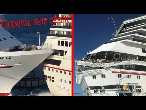 Carnival Glory And Carnival Legend Collide In Cozumel- Multiple Angles!