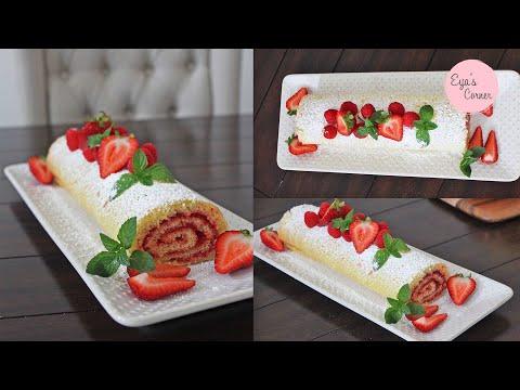 رولي-المعجون-(بالمربى)-لذيذ-وسهل-التحضير---recette-du-gâteau-roulé-a-la-confiture