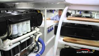 Spencer 70 2011 Convertible  Yacht Engine Room Review - By BoatTest.com