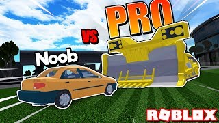 NOOB vs PRO - CAR CRUSHERS 2! *SUPER OVERPOWERED!* (Roblox)