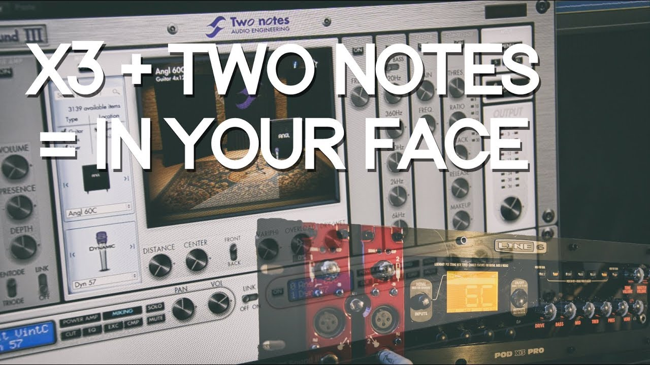 Line 6 POD X3 Pro + Two Notes cab impulses = in your face metal ...
