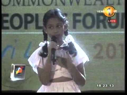 Chogm 2013 Sri Lanka live in Galle Small Girl`s Speech Travel Video