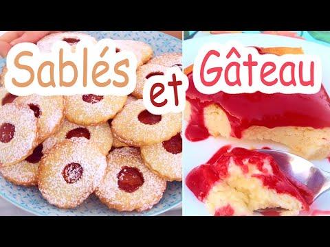 sablés-à-la-confiture-et-gâteau-au-fromage-blanc-coulis-de-framboise-(recettes)-|-little-béné