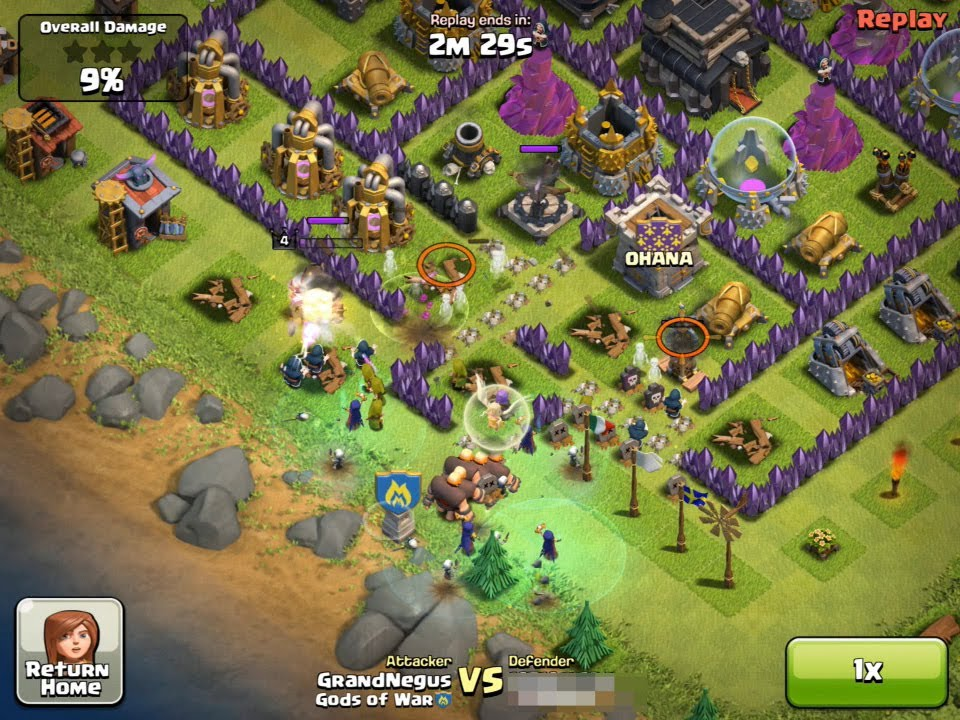 Clash of Clans Witch attack - 6 x witches and healer - YouTube