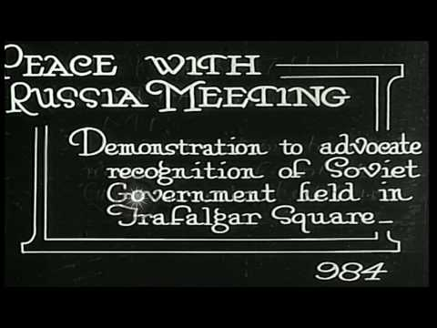 Crowd at Trafalgar Square gathers to advocate recognition of Soviet government in...HD Stock Footage