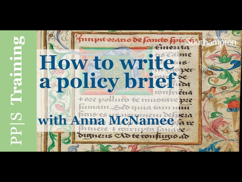 Policy|Training - How to write a policy brief
