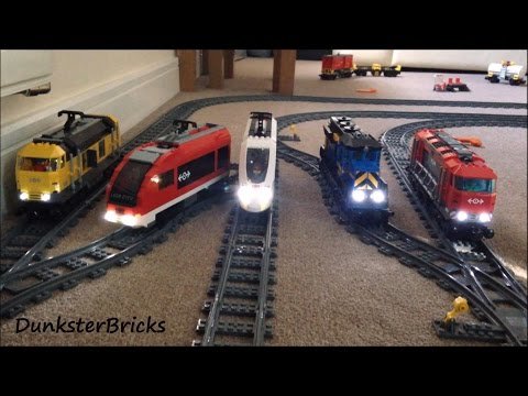 Thumbnail: LEGO Train Track Setup Featuring Passenger and Cargo Trains with Lights!