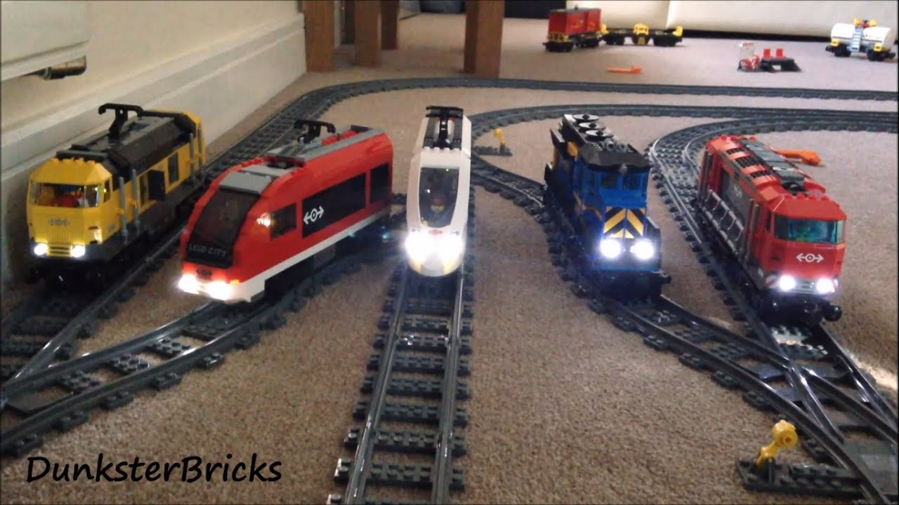 Lego Train Track Setup Featuring Passenger And Cargo