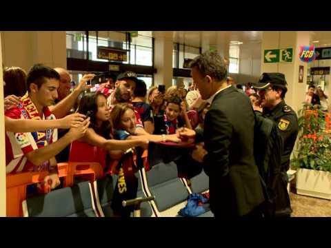 FC Barcelona arrive in Barcelona after beating Gijón