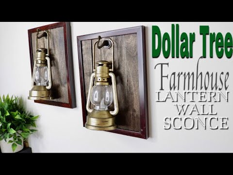 Dollar Tree DIY lantern wall sconce | Farmhouse Decor