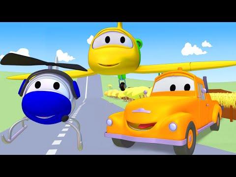 Tom la Grúa con el Avion y el Helicóptero en Auto City   Dibujos animados para niños