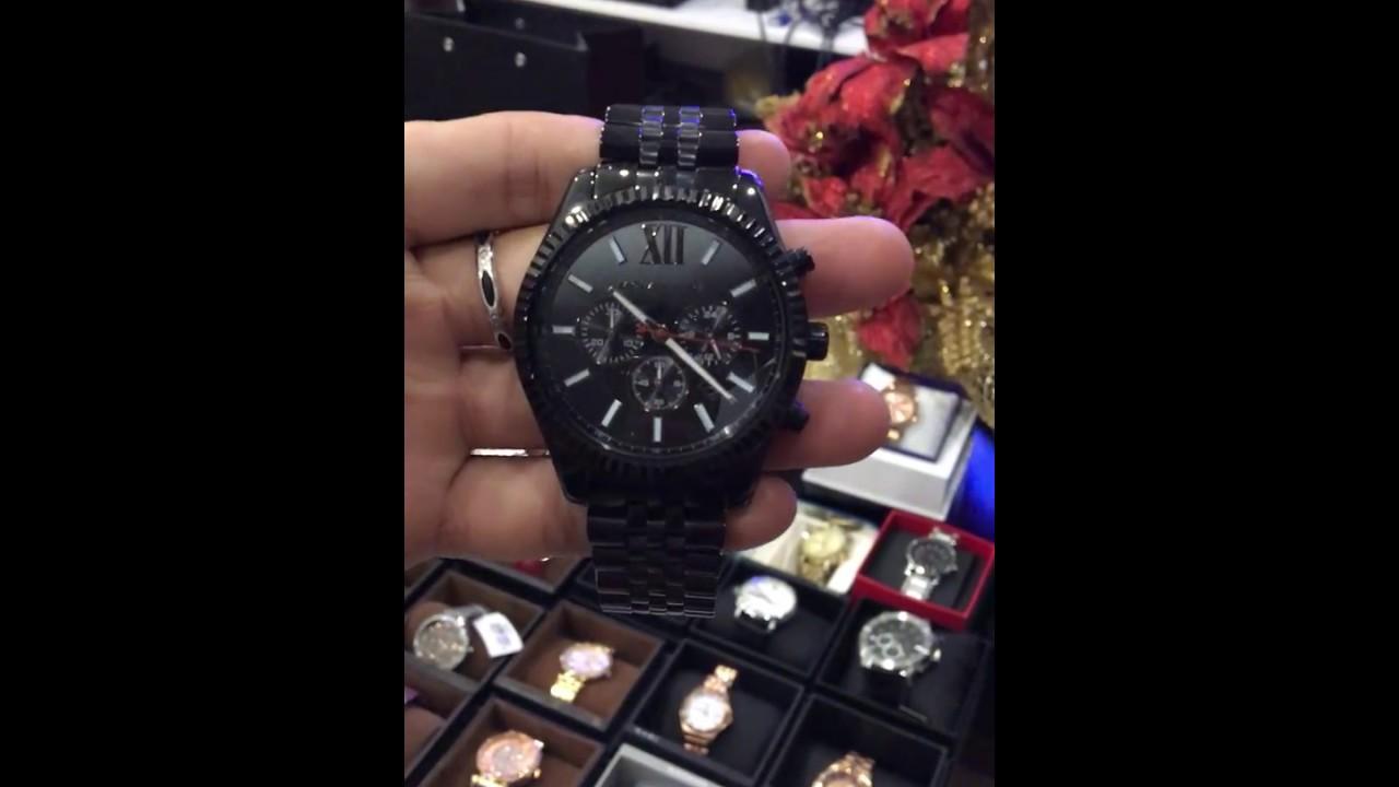 354859d70a858 MICHAEL KORS ALL BLACK LARGE LEXINGTON CHRONOGRAPH BRACELET WATCH MK8320