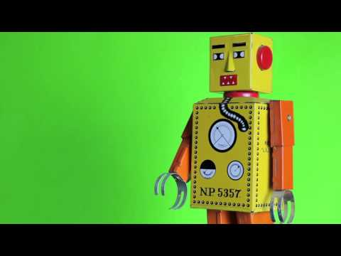 FREE HD Walking Tin Robot Toy Green Screen