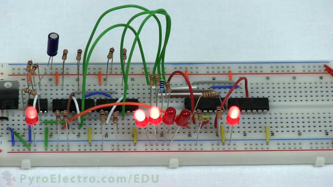 Design An Led Chaser Introduction To Digital Electronics How Make Mp3 Player At Home Using 555 Timer Cd4017 Pyroedu