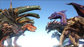ALL DINOSAURS vs ALL FANTASY Creatures in ARK   Cantex