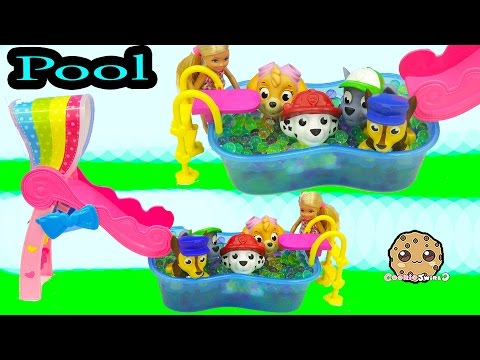 Orbeez Pool Party With Barbie + Paw Patrol Water Squirter Puppies - Cookieswirlc Video