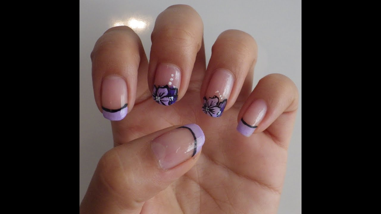 Dise o de u as flores lilas easy nail art for beginners for Decoracion de unas de rosas