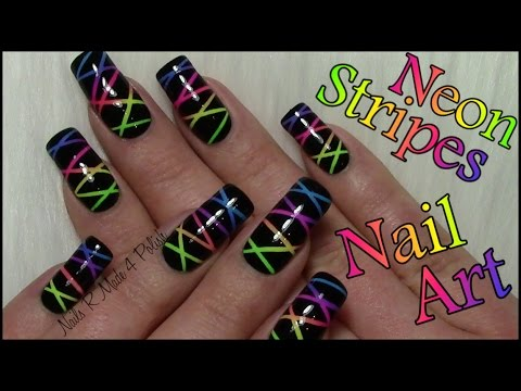 buntes neon streifen nageldesign colorful striped nails. Black Bedroom Furniture Sets. Home Design Ideas