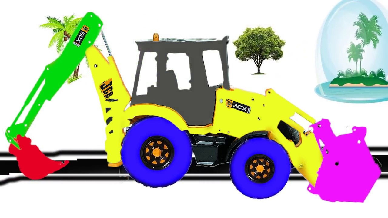 Colors Learn Childrens Jcb Excavator Toys Coloring For Kids Children Video
