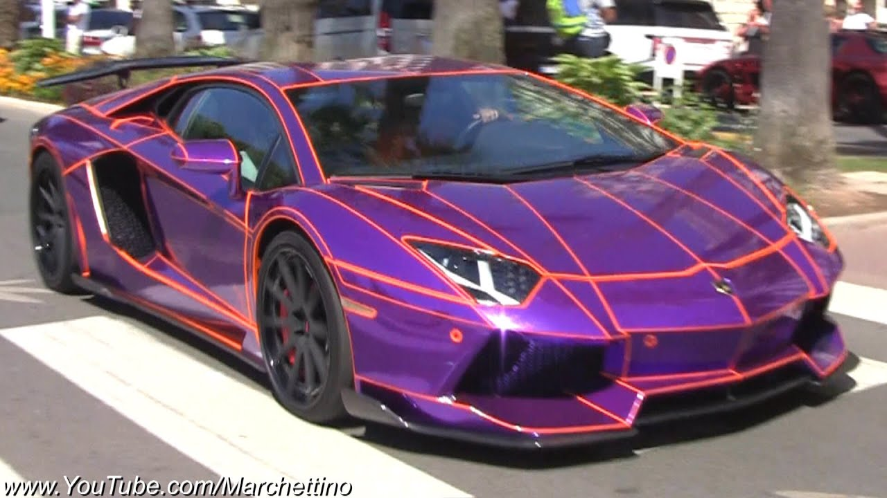 EPIC Chrome Purple Lamborghini Aventador Tron - YouTube