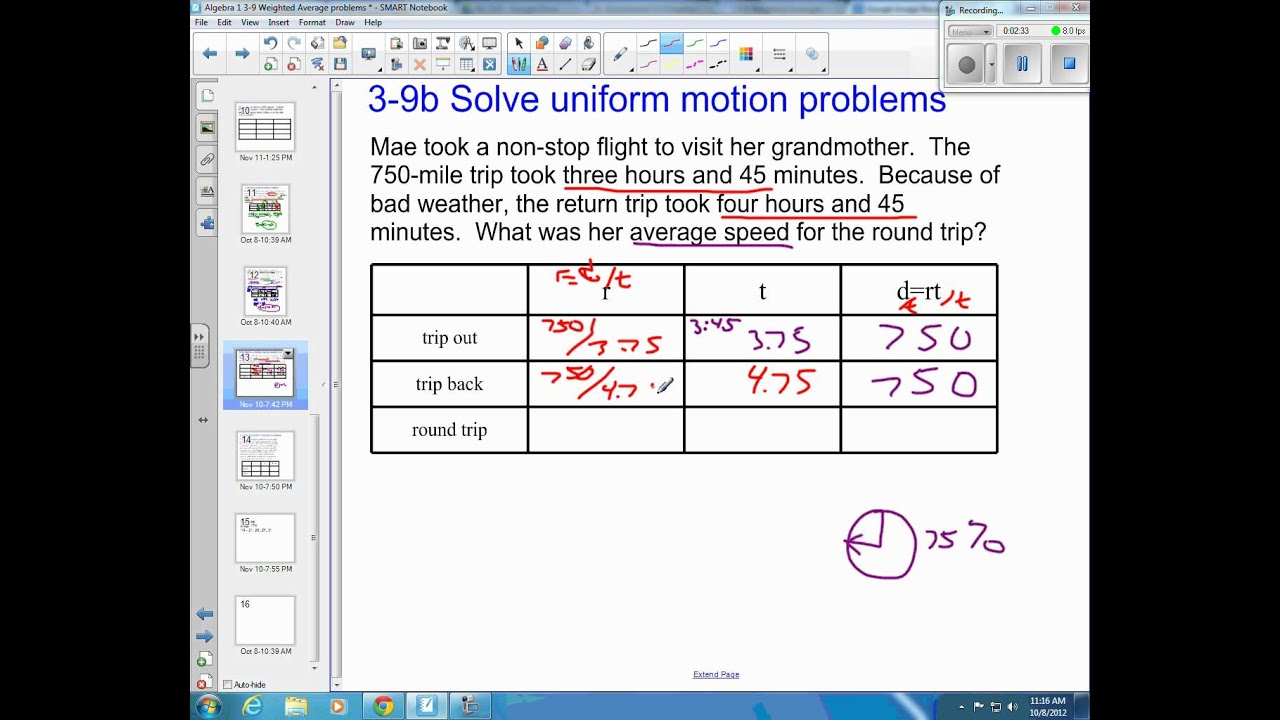 Average Speed Problems (solutions, examples, answers, videos)