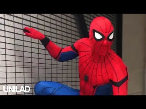 Playing 'the floor is lava' with Spiderman| UNILAD