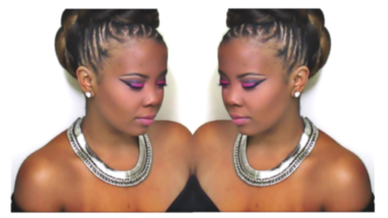 How To Braided Faux Hawk Updo For Natural Hair Youtube