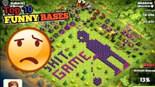 Top 10 funny bases of clash of clans ll funny coc bases ll banned clash of clan bases